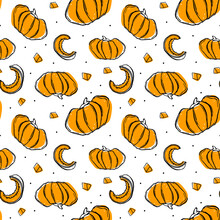 Illustration Orange Pumpkin With Various Pieces Free Hand Seamless Pattern On White Background. Doodle Style.