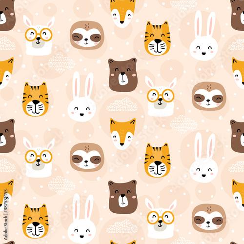 Naklejka premium Cute animals seamless pattern on pastel peach background - nursery style childish doodles - hand drawn illustrations - llama, sloth, fox, bunny, bear, tiger