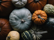 Seasonal Image Of Gourds And P...
