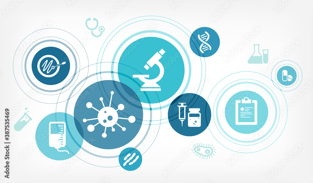 Fototapeta Medical research vector illustration. Concept with icons related to medicine and science, laboratory analysis, disease treatment, diagnosis, clinical trial or scientific therapeutic study.