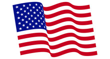 Vector Waving USA Flag. Waving American Flag Vector.  National Waving Vector Flag Of The United States. Wavy USA Banner On White Background