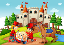 Fairytale Scene With Humpty Dumpty Egg And Soldier Royal Guard Scene