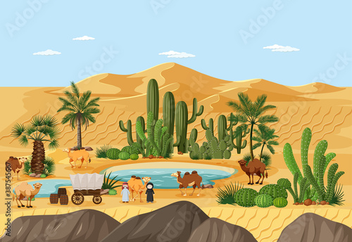 Foto Desert oasis with palms and catus nature landscape scene
