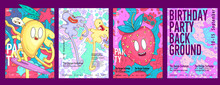 Set Of Funny Posters With Cartoon-style Backgrounds. Colored Painted  In Doodle Style. Vector Illustration.