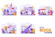 set of medical themed designs and treat health in a variety of ways with tiny people style. Vector illustration