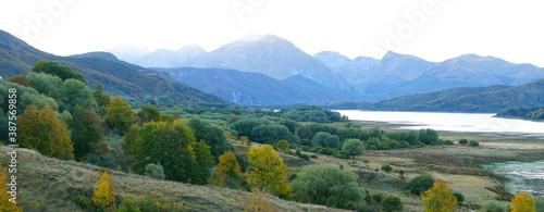 Fotografie, Obraz Gran Sasso and Monti della Laga National Park, dawn on Lake Campotosto