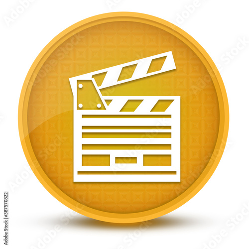 Fotografía Cinema luxurious glossy yellow round button abstract