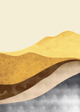 Abstract mountain landscape, Natural landscape background. Creative minimalist hand painted design for wall decoration, postcard or brochure design.vector illustration. - 387571667