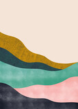 Abstract mountain landscape, Natural landscape background. Creative minimalist hand painted design for wall decoration, postcard or brochure design.vector illustration. - 387571819