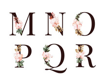 Watercolor Floral Alphabet Set Of M; N; O; P; Q; R With Red And Brown Flowers And Leaves. Flowers Composition For Logo, Cards, Branding, Etc.