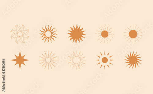 Fototapeta Vector set of linear boho icons and symbols - sun logo design templates  and pri