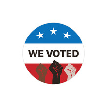 We Voted Sticker Isolated On Background. Election Button Symbol Modern, Simple, Vector, Icon For Website Design, Mobile App, Ui. Vector Illustration