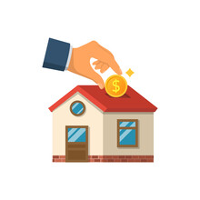 Man Invests Money In The House. Home Is Like A Piggy Bank. Vector Illustration Flat Design. Isolated On White Background. Coin In Hand For The Purchase Of Real Estate. Construction Financing.