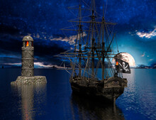 Pirate Sailship Near The Old Lighthouse With Fire At Moonlight