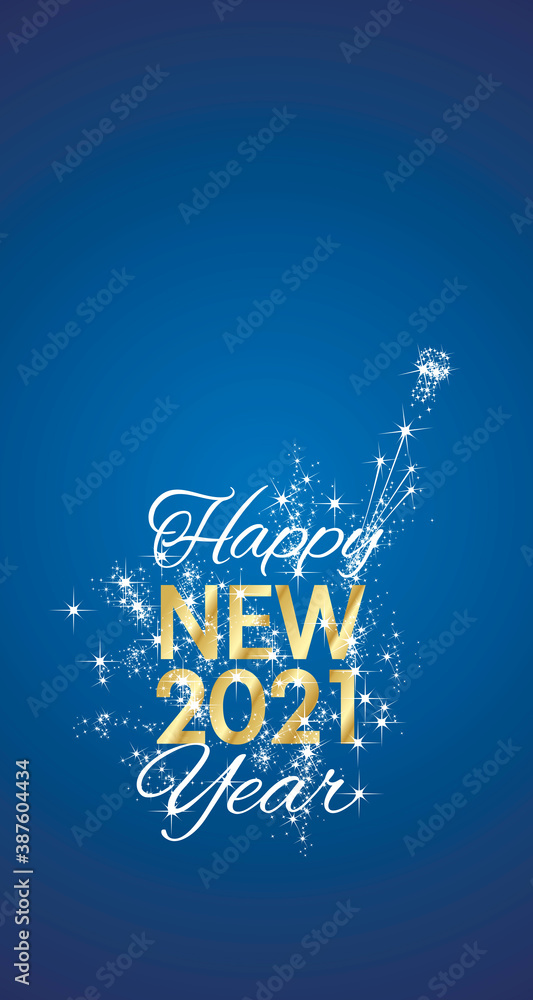 Fototapeta Happy New 2021 Year sparkle firework gold white blue vector greeting card