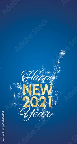 Fototapeta Happy New 2021 Year sparkle firework gold white blue vector greeting card obraz