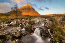Glen Etive Waterfall On A Sunn...