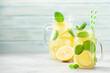 Leinwandbild Motiv Lemon and mint homemade lemonade