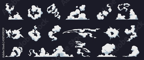 Fototapeta Smoke cloud. Cartoon fog puff. Steam motion bomb blast, dust explosion. Collection of cloudscape templates, evaporated water in sky. Weather forecast symbol mockup. Vector vapor trail isolated set obraz