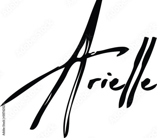 Arielle-Female Name Modern Brush Calligraphy Cursive Text on White Background Wallpaper Mural