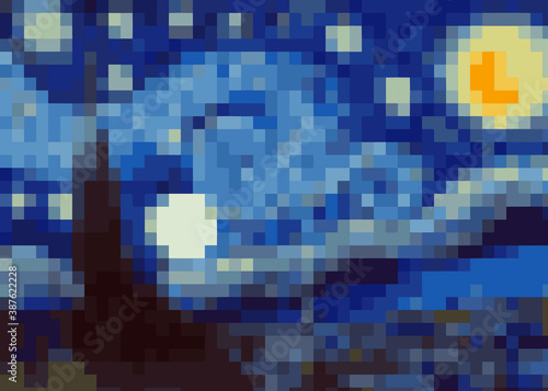 Valokuvatapetti abstract pixel art background, vector illustration inspired by the painting of Vincent Van Gogh, Moonlit Night