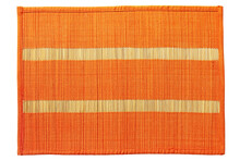 Orange Braided Bamboo Food Mat Taken Closeup Isolated On White Background.