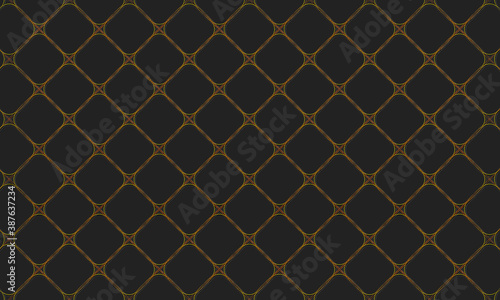 Fototapety, obrazy: Original background pattern of abstract geometric gold shapes with extruded contour. Vector graphics on a black background.