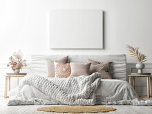 Mockup Poster On White Wall With A Cozy Bed, White Background, 3d Render, 3d Illustration