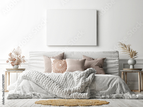 Mockup poster on white wall with a cozy bed, white background, 3d render, 3d illustration - 387638097
