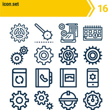 Simple Set Of  16 Lineal  Icon...