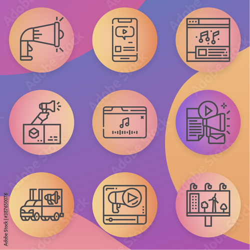 Simple collection of advertised related lineal icons Wallpaper Mural