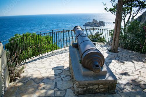 A historical cannon just outside the monastery in Paleokastritsa, Corfu, Greece Canvas-taulu