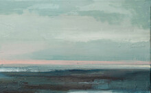 Abstract Landscape Art Background. Seascape Contemporary Art. Oil Painting Of Ocean. Oil Paint Texture. Modern Art.