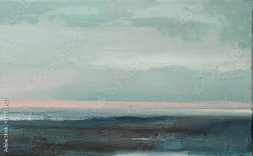 Fototapeta Abstract landscape art background. Seascape Contemporary art. Oil painting of ocean. oil paint texture. Modern art. obraz