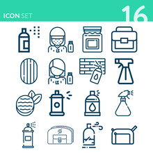 Simple Set Of 16 Icons Related To Washed Out