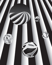 Set Of Decorative Spheres On A Black And White Background