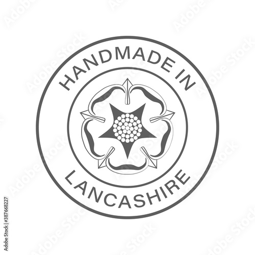 """Handmade in Lancashire"" icon, vector with transparency. With county flag/emblem in the middle."