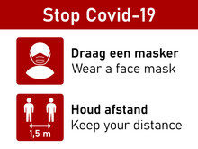 Bilingual Stop Covid-19 Rules Icon Set In Spanish And English Including Draag Een Masker (Wear A Face Mask) And Houd Afstand (Keep Your Distance) 1,5 M Or 1,5 Metres. Vector Image.