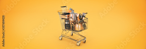 Canvas Print Shopping cart with many kitchen appliances. 3D rendering