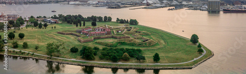 Valokuva Fort McHenry from the air in Baltimore, legendary fortification from the 1812 wa