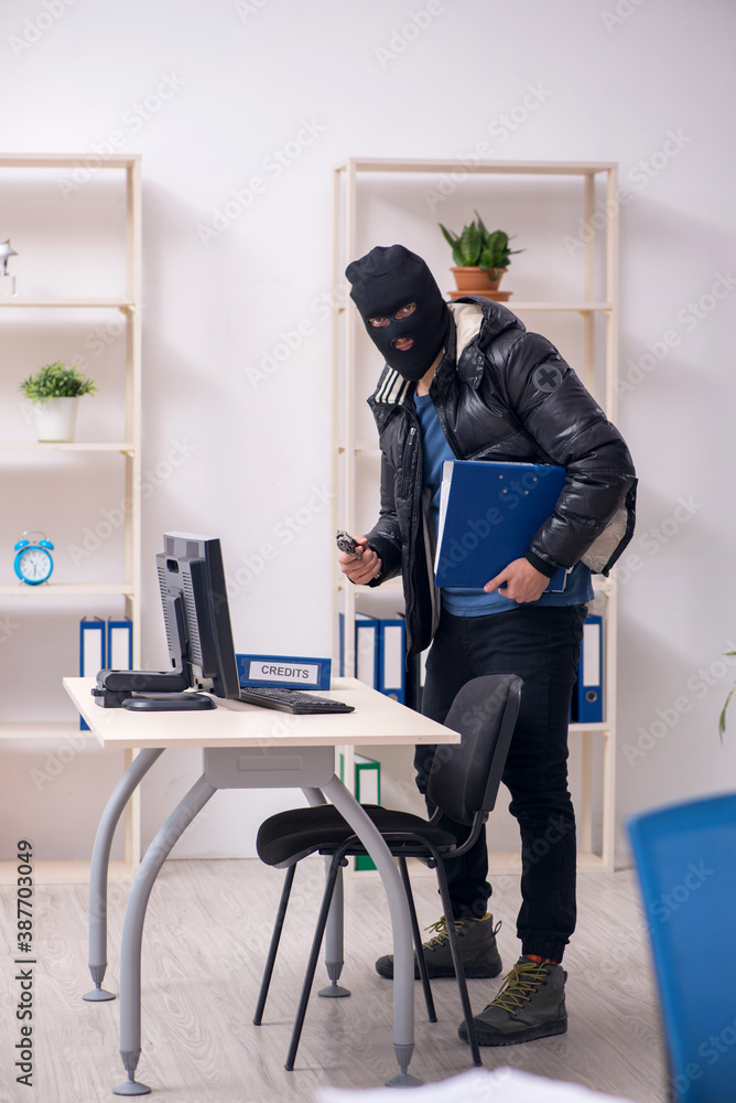 Young male burglar in the office