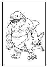 Fantasy Shark Man Vector Drawing. Monster Shark Coloring Template.