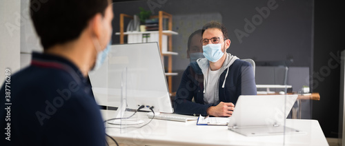 Job Interview With Covid Face Mask. Hiring