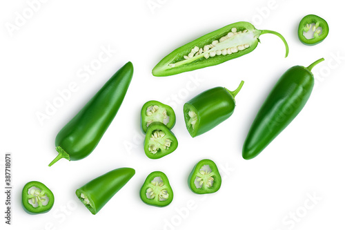 Fototapeta jalapeno peppers isolated on white background. Green chili pepper with clipping path. Top view. Flat lay obraz