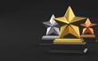 Three winner place stars trophy award isolated on black background. 3d illustration 3D render