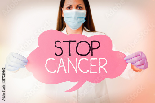 Canvas Print Word writing text Stop Cancer