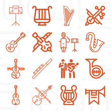 16 Pack Of Musical Group  Lineal Web Icons Set