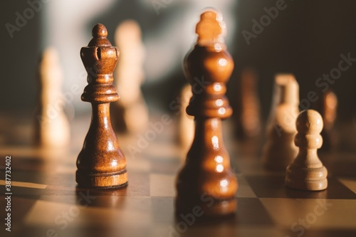 chess pieces on a chessboard Fototapet