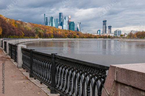 Wonderful landscape of the embankment and skyscrapers Canvas Print