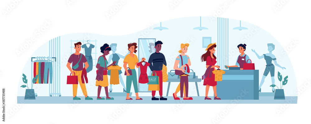 Fototapeta Queue in clothing store, people in line to cashier, vector flat cartoon. People in queue, shopping buying and paying clothes in trade center at checkout counter, men and women waiting with paper bags